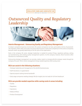 Outsourced Quality & Regulatory Leadership Handout