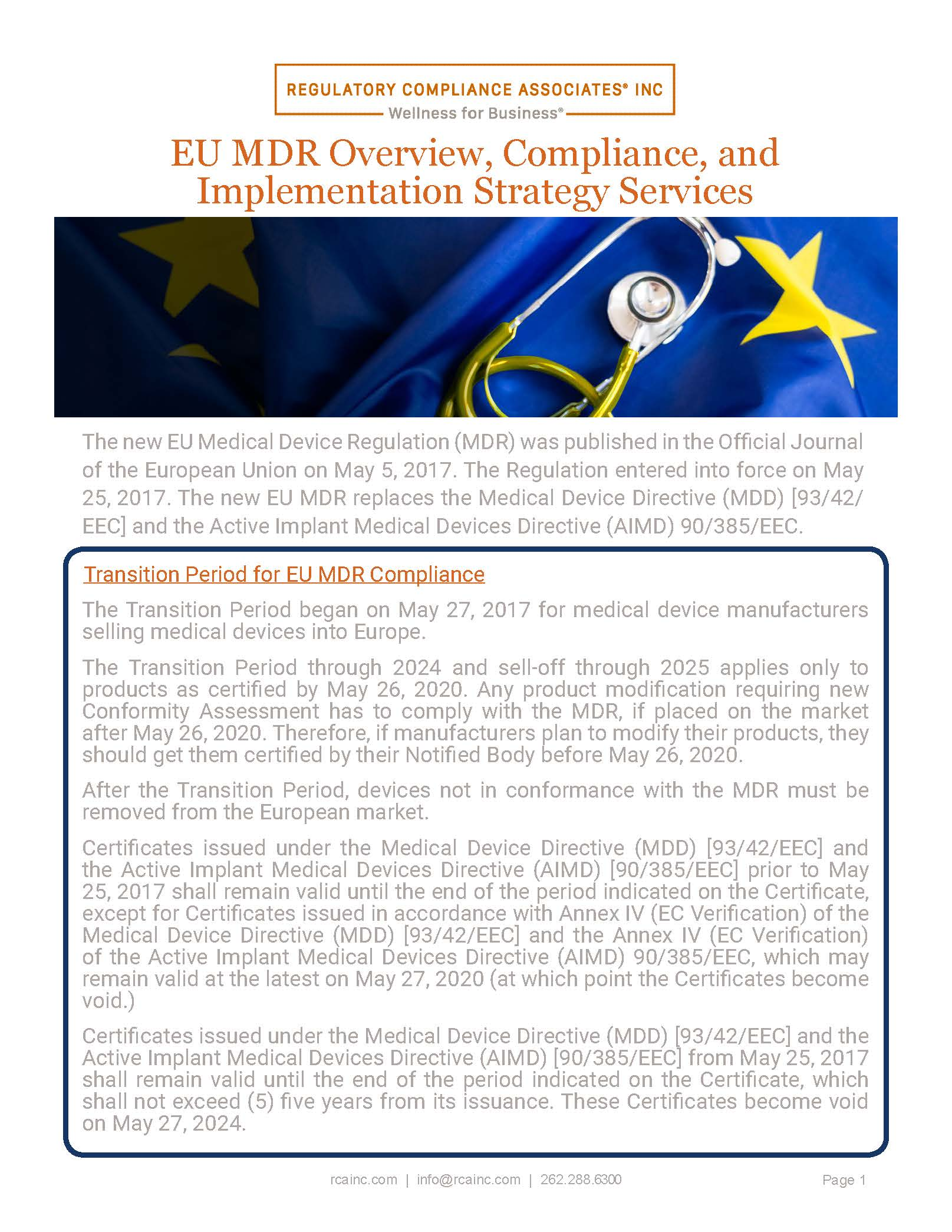 EU MDR Compliance and EU MDR Implementation Strategy Services